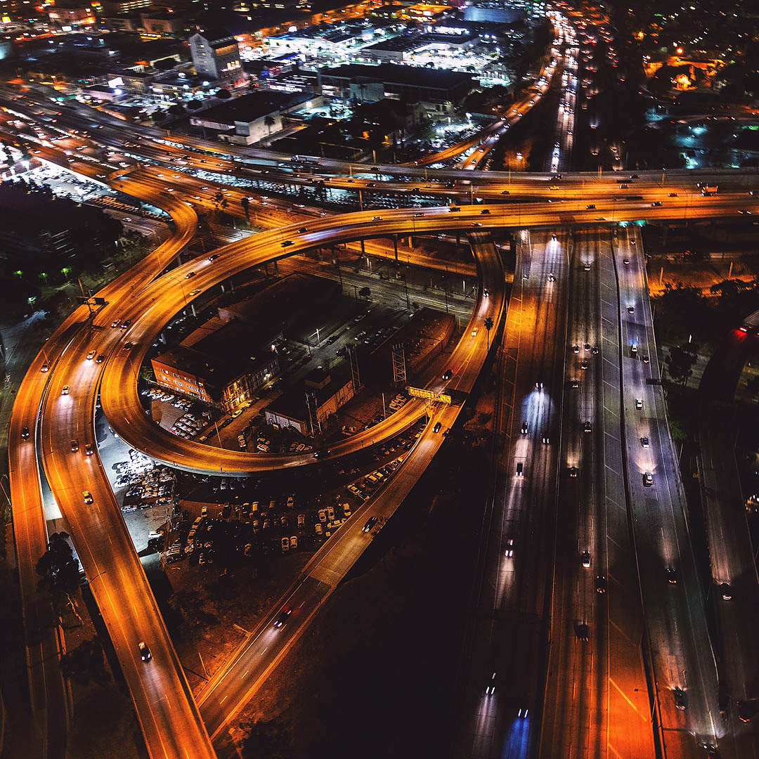 Freeway action. Los Angeles Helicopter Tours.