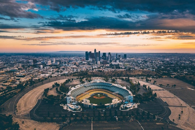 Dodger Stadium. Los Angeles Helicopter Tours.