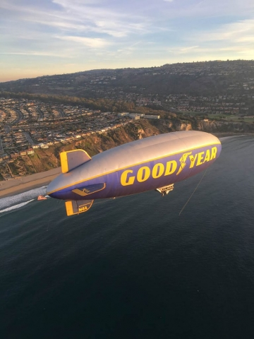 Goodyear blimp. Los Angeles Helicopter Tours.