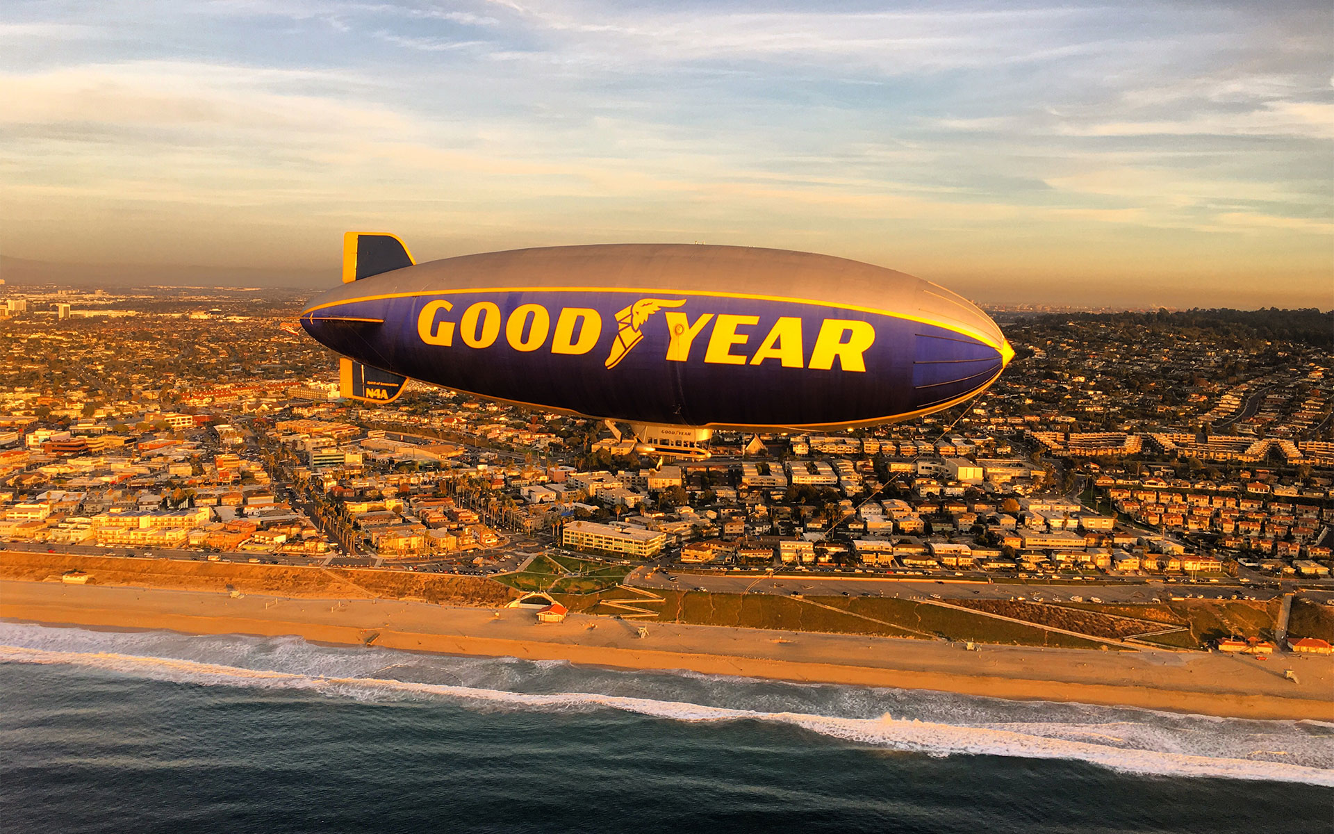 The Goodyear blimp. Los Angeles Helicopter Tours