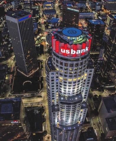 US Bank building. Los Angeles Helicopter Tours.