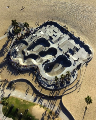 Skate part at Venice Beach. Los Angeles Helicopter Tours.