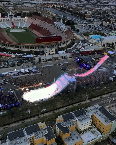 X-Games at the Los Angeles memorial coloseum. Los Angeles Helicopter Tours.