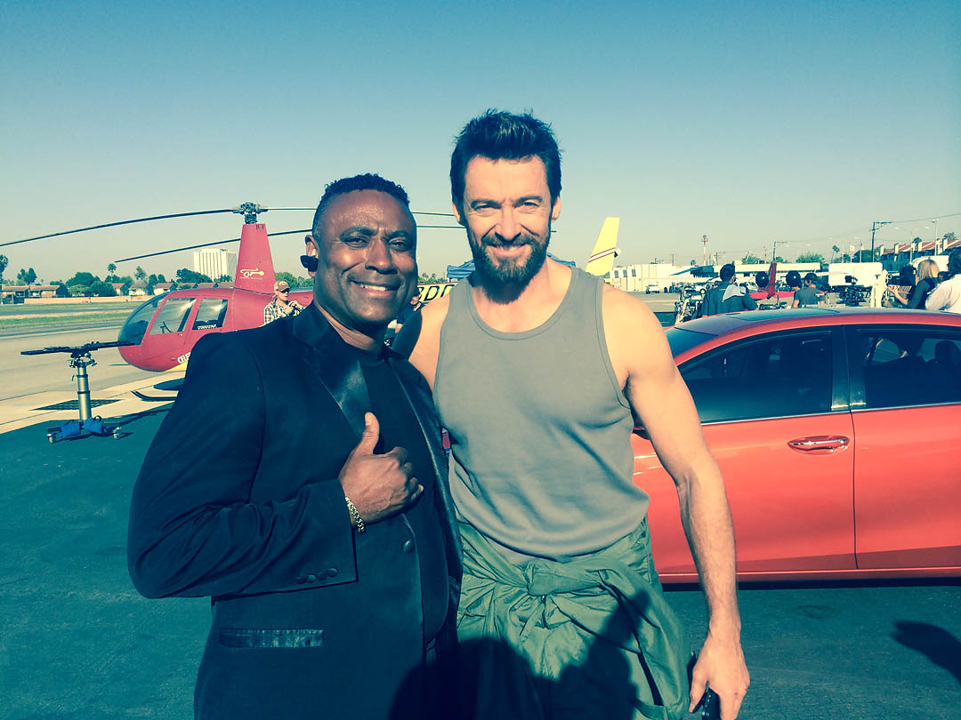 Hugh Jackman poses with Robin Petgrave. Los Angeles Helicopter Tours.