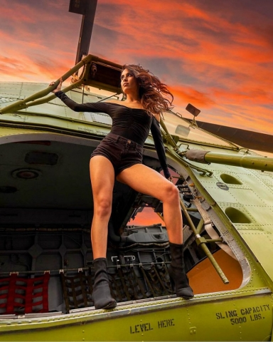 Fashion shoot at Tomorrow's Aeronautical Museum. Los Angeles Helicopter Tours.