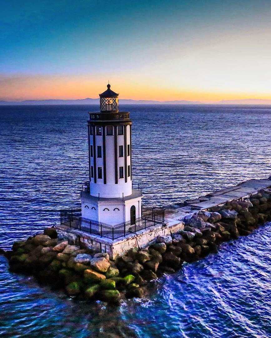 Angel's Gate lighthouse, San Pedro, CA. Los Angeles Helicopter Tours.