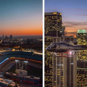 Dodger Stadium and Downtown. Los Angeles Helicopter Tours