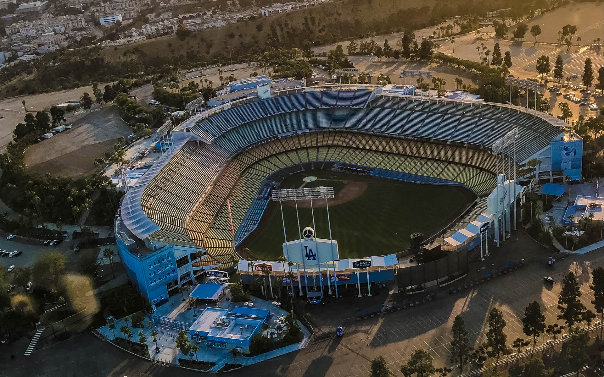 Flying over Dodger Stadium