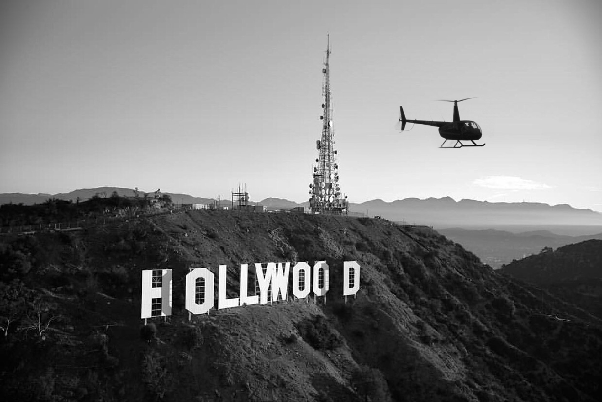 Flying over the Hollywood Sign. Los Angeles helicopter tours
